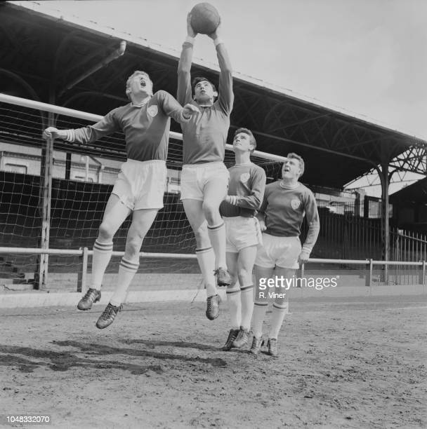 From left John Sjoberg Gordon Banks Richie Norman and Ian King of Leicester City Football Club team squad practice together on the pitch at Filbert...