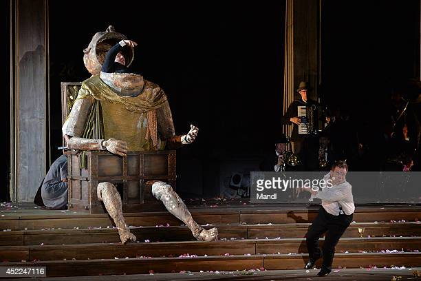 From left: Juergen Tarrach and Cornelius Obonya are seen during the photo rehearsal of 'Jedermann' on the Domplatz ahead of Salzburg Festival 2014 on...