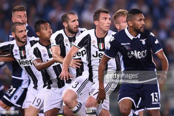 Juventus' defender from Italy Leonardo Bonucci Juventus' defender from Brazil Alex Sandro Juventus' defender from Italy Giorgio Chiellini and...