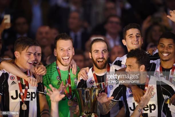 Juventus' forward from Argentina Paulo Dybala Juventus midfielder Miralem Pjanic Juventus' goalkeeper from Brazil Neto Juventus' forward from...
