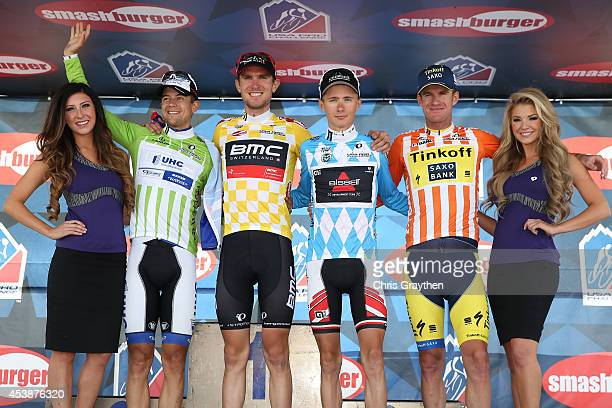 From left, Kiel Reijnen of the United States riding for UnitedHealthcare Pro Cycling in the green points jersey, Tejay van Garderen of the United...