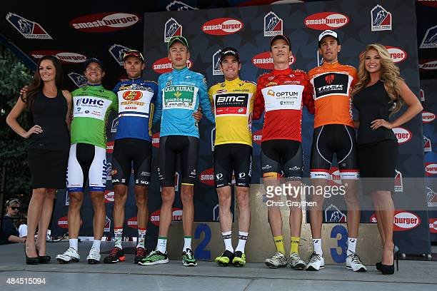 From left, Kiel Reijnen of United States riding for UnitedHealthcare in the points jersey, Alexandr Braico of Moldolva riding for Jelly Belly-Maxxis...