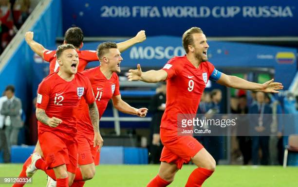 From left Kieran Trippier Jamie Vardy Harry Kane of England celebrate the victory after the penalty shootout of the 2018 FIFA World Cup Russia Round...
