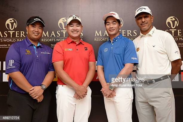 From left Kiradech Aphibarnrat of Thailand Angelo Que of Philippines Liang Wenchong of China and Jeev Milkha Singh of India pose during the press...