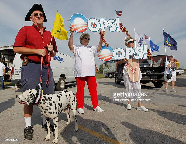 From left Larry Bailey with his dog Pongo Carol Borden and Jan Christensen join the crowd as the Tea Party Express stopped in Kennedale Texas on...