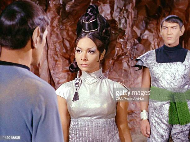 From left Leonard Nimoy as Mr Spock Arlene Martel as T'Pring and Lawrence Montaigne as Stonn in the STAR TREK episode Amok Time Original airdate...