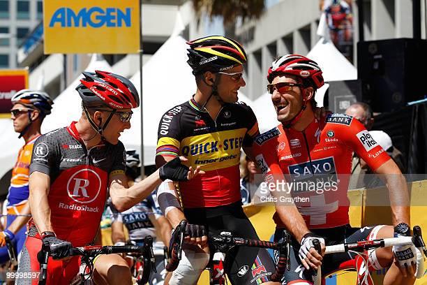 From left Levi Leipheimer of Radio Shack Tom Boonen of Belgium riding for Quickstep and Fabian Cancellara of Switzerland riding for team Saxo Bank...