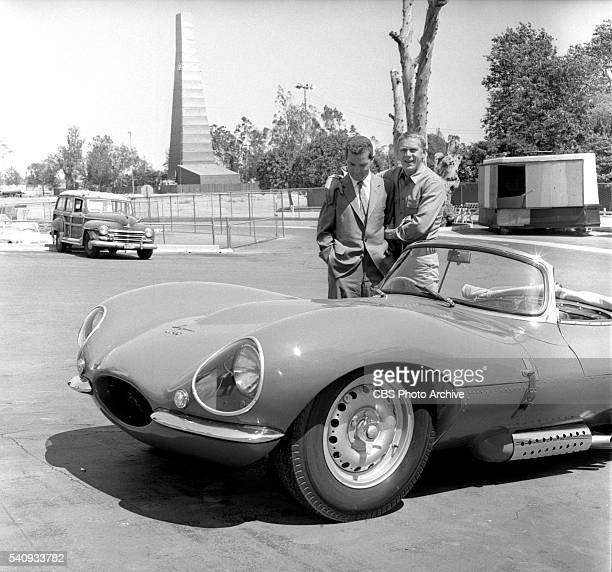 From left Lew Bracker former Pacific Coast champion Porsche driver and Steve McQueen of the CBS television western 'Wanted Dead or Alive' at CBS...