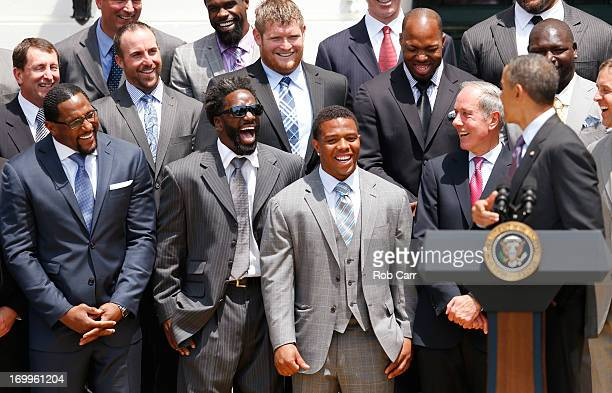 From left, linebacker Ray Lewis, safety Ed Reed, running back Ray Rice and team president Dick Cass of the National Football League Super Bowl...
