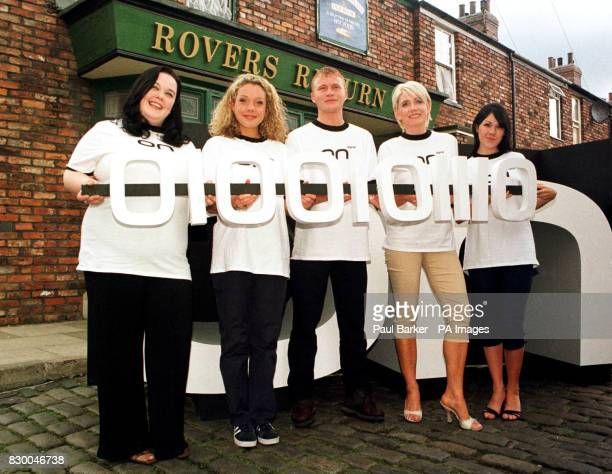 From left, Lisa Riley , Holly Newman , Steve Arnold , Michelle Collins and Adele Silva get together for the launch of ON Digital television. See PA...