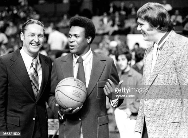 From left Los Angeles Lakers head coach Bill Sharman and assistant coach KC Jones share a laugh with Celtics coach Tom Heinsohn The Boston Celtics...