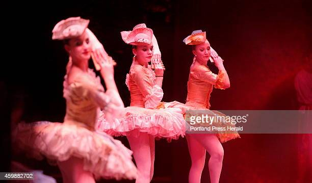 From left Lucy Denton Casey Ryan and Julia Lopez perform the Dance of the Marzipan Shepherdess from Maine State Ballet's The Nutcracker at Merrill...