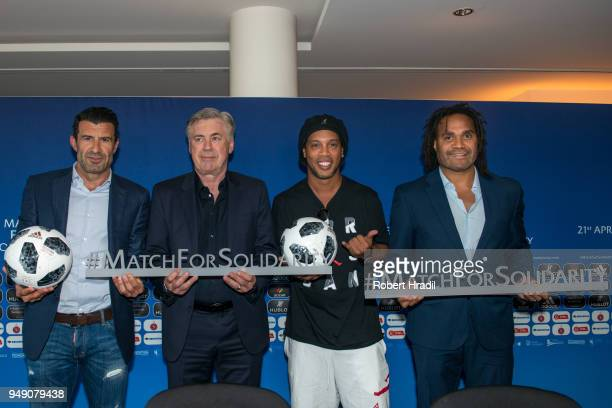 From left Luis Figo Former Portuguese and Real Madrid player Head Coach Carlo Ancelotti Ronaldinho Former Brazil and Barcelona player and Christian...