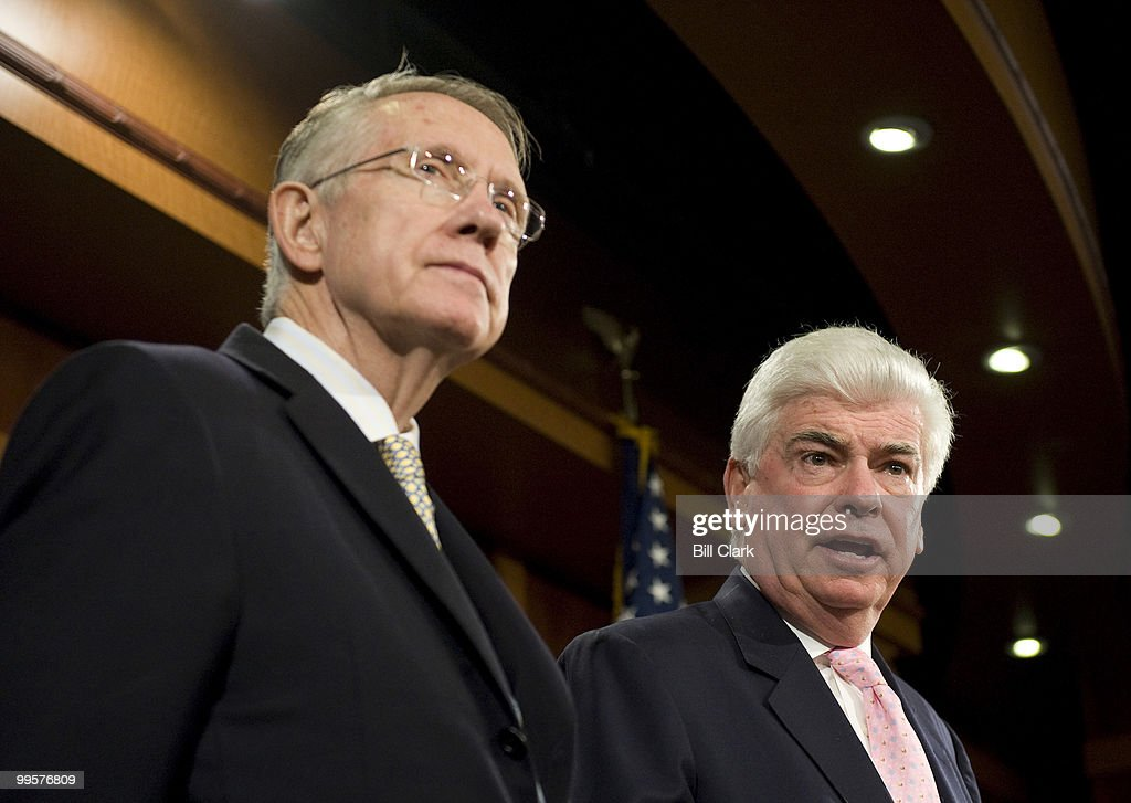 From left, Majority Leader Harry Reid, D-Nev., and Senate Banking, Housing and Urban Affairs Committee chairman Chris Dodd, D-Conn, speak about the financial crisis bailout plans during a news conference in the Senate Radio-TV Gallery studio on Friday, Sept. 26, 2008.