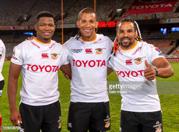 From left Malcolm Jaer Clayton Blommetjies and Rosko Specman of Toyota Cheetahs celebrating during the Super Rugby Unlocked match between the Toyota...