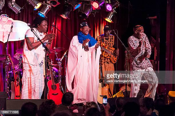 From left Malian musicians Habib Koite Afel Bocoum and Abdoul Wahab Berthe along with Zimbabwean Oliver Mtukudzi perform on the Acoustic Africa Tour...