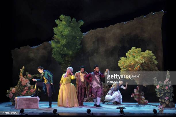 From left Marie Engle Kathryn Henry Joshua Blue Charles Sy and Tamara Banjesevic in Mozart's La finta giardiniera by the Juilliard School at Peter...