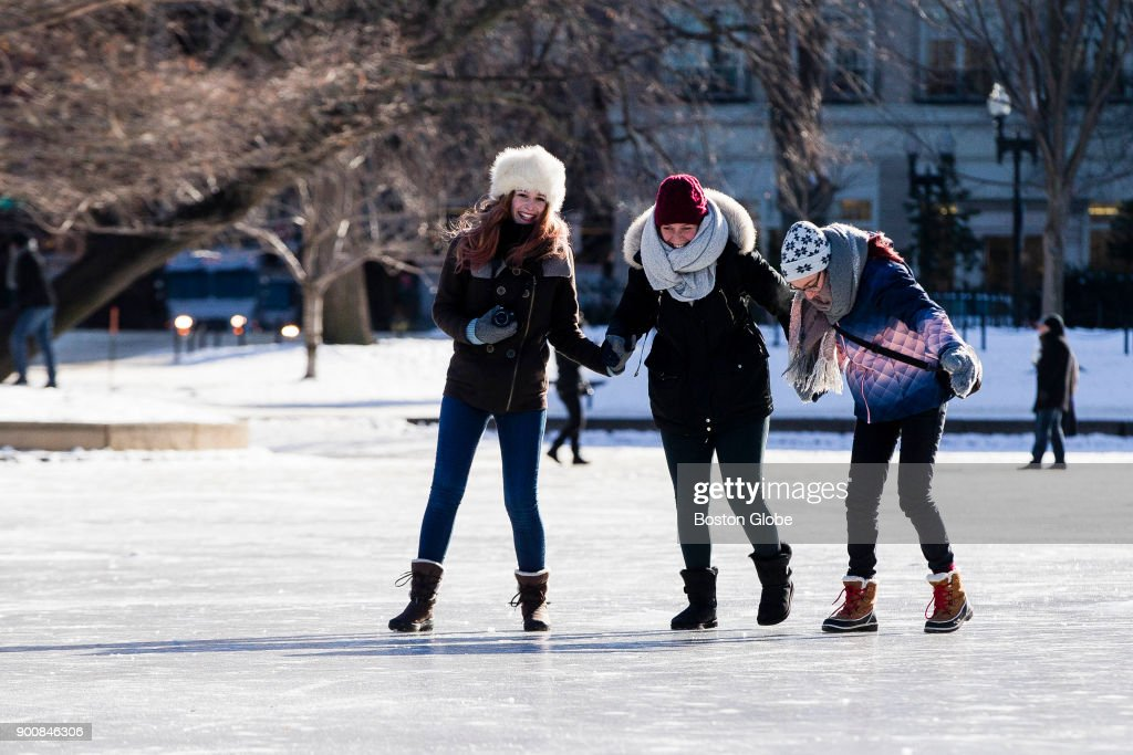 It can be fun. Properly wrapped up, ice skaters enjoy Boston's Lagoon in the Public Garden.