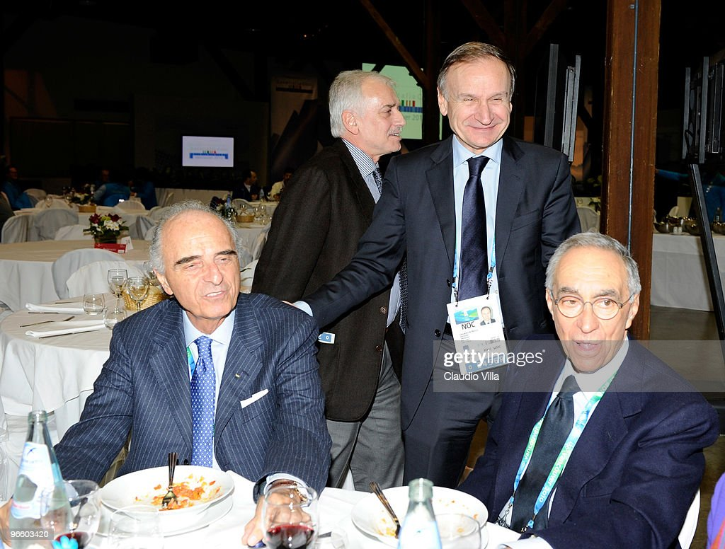 From left Mario Pescante, Giuseppe Pagnozzi, Gianni Petrucci and Franco Carraro at Casa Italia on February 11, 2010 in Vancouver, Canada.