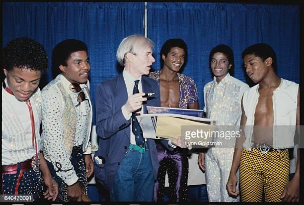 Marlon Jackson Tito Jackson Andy Warhol Jermaine Jackson Michael Jackson and Randy Jackson in 1981