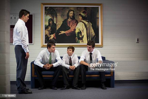 From left Mason Spillsbury Braden Romney Mattison Spilsbury and Dallas Romney hang out before church service in Colonia Juarez Mexico in July 2011...