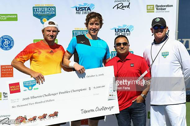 From left Matt Reid and JohnPatrick Smith celebrate after winning the doubles final of the 2016 Tiburon Challenger with Title Sponsor Ashoo Vaid and...