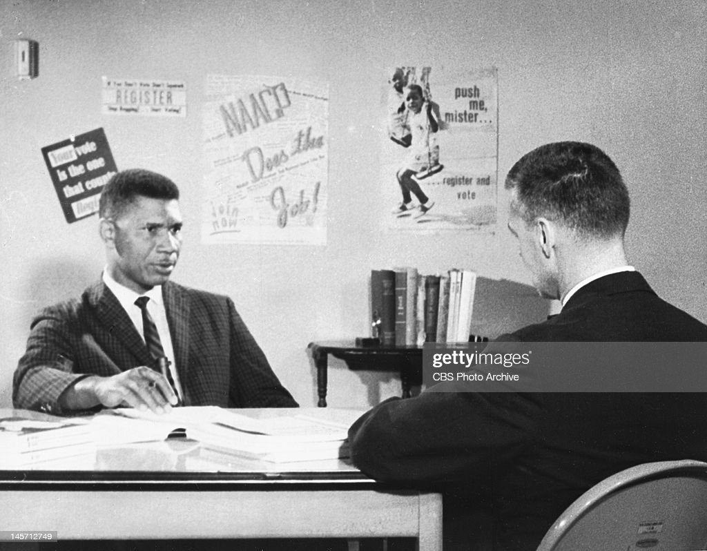 From left, Medgar Evers being interviewed by CBS Reports producer, William 'Bill' Peters. Segment titled, 'Testament of a Murdered Man,' originally conducted in the summer of 1962, originally broadcast on June 12, 1963.