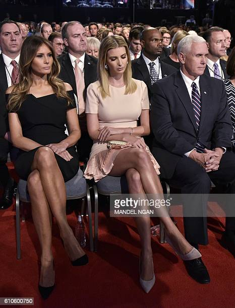 Melania Trump Ivanka Trump and Republican vice presidential nominee Mike Pence are seen in the audience of the first presidential debate at Hofstra...