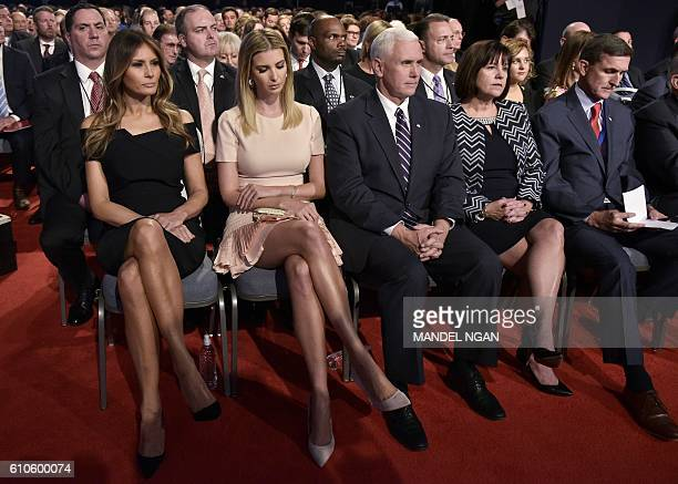 Melania Trump Ivanka Trump Republican vice presidential nominee Mike Pence his wife Karen Pence and retired general Michael Flynn are seen in the...
