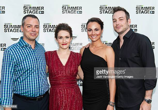 From left Metropolitan Opera artists pianist Bradley Moore soprano Erin Morley mezzosoprano Isabel Leonard and tenor Stephen Costello pose backstage...