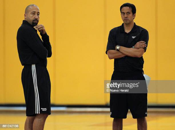 From left Miami Heat assistant coach David Fizdale and head coach Erik Spoelstra during practice at the AmericanAirlines Arena in Miami on Thursday...
