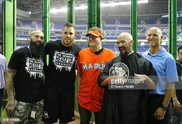 "From left, Miami Marlins barber Hugo ''Juice'' Tandron, pitcher Jose Fernandez, Laurence ''Marlins Man'' Leavy, Superfan Andres Salgado ""The Jose..."