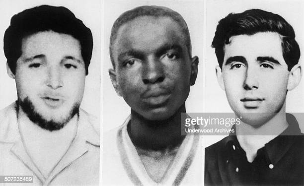 From left, Michael Schwerner, James Chaney, and Andrew Goodman were three CORE civil rights workers who were murdered in Mississippi by members of...