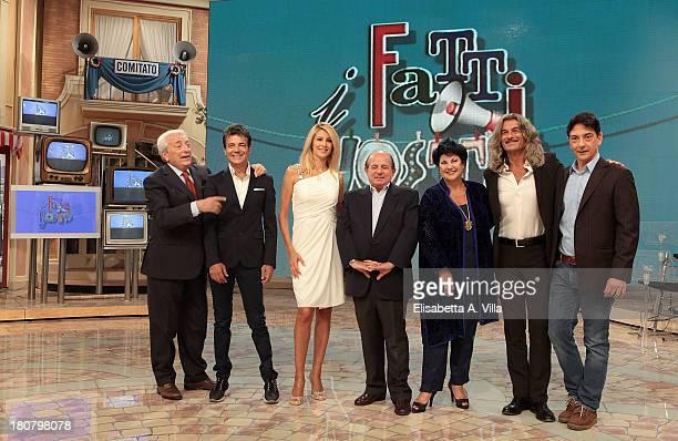 From left, Michele Guardì, Gabriele Cirillo, Adriana Volpe, Giancarlo Magalli, Marisa Laurito, Demo Morselli and Paolo Fox attend the 'I Fatti...