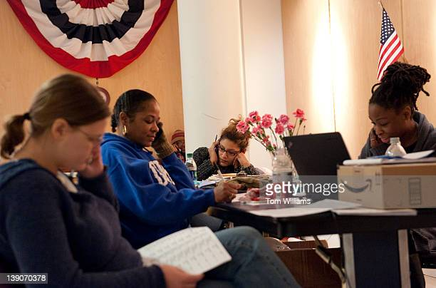 From left Michelle Reynolds Nicole Ikner Constance Johnson Marissa Clark and Mandi Lewis work the phones at President Barack Obama's campaign office...