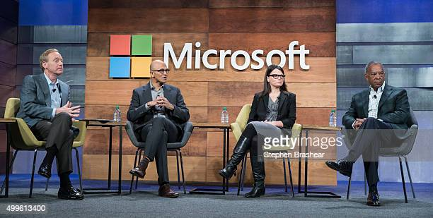 From left Microsoft General Counsel and Executive Vice President Brad Smith Microsoft CEO Satya Nadella Microsoft CFO and Executive Vice President...
