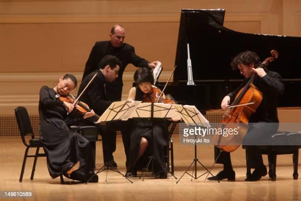From left Midori Jonathan Biss Nobuko Imai and Antoine Lederlin performing Dvoraks' 'Piano Quintet in Eflat Major' at Carnegie Hall on Tuesday night...