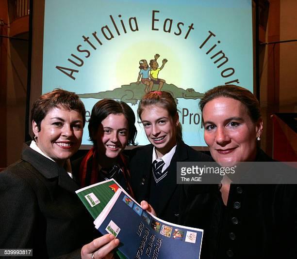 From left, Minister for Education and Training Lynne Kosky with Ivanhoe Girls Grammar School students Hannah Webster and Stephanie Sprott and Kirsty...