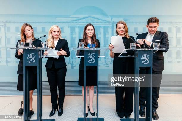 Minister of Education Li Andersson, Minister of Interior Maria Ohisalo, Prime Minister Sanna Marin, Minister of Finance Katri Kulmuni and Minister...