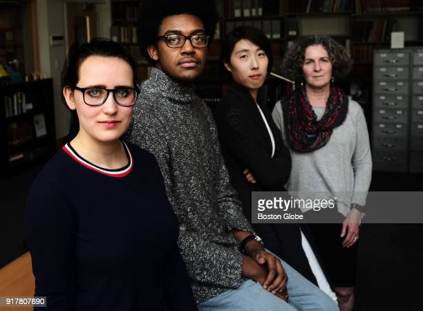 From left MIT students Charlotte Minsky and Kelvin Green II graduate student Clare Kim and archivist Nora Murphy pose for a portrait in Cambridge MA...
