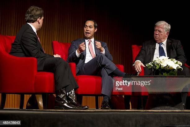 From left Moderator Brian Sweany Senior Executive Editor at Texas Monthly left and former Governor of Mississippi Haley Barbour far right listen to...