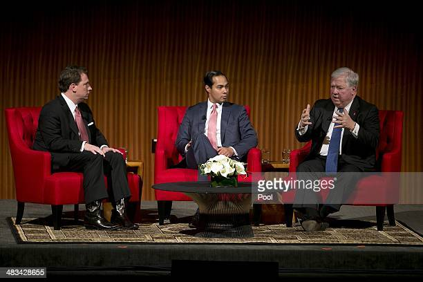 From left Moderator Brian Sweany Senior Executive Editor at Texas Monthly left and Mayor of San Antonio Julian Castro center listens to former...