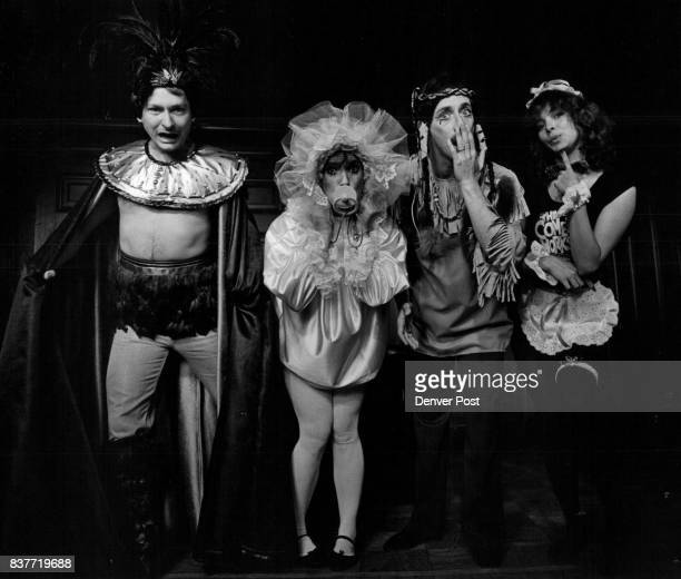 "From left Montezuma in ""jeweled"" gold leatherette collar feathered headdress belt leggins baby in satin and tulle outfit Michael Berg as an Indian..."