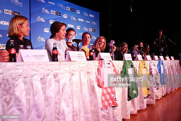 From left Morgane Caultier UCI Women's Cycling Coordinator Alexis Ryan of the United States riding for Canyon/SRAM Racing Chris Zigmont Director SRAM...