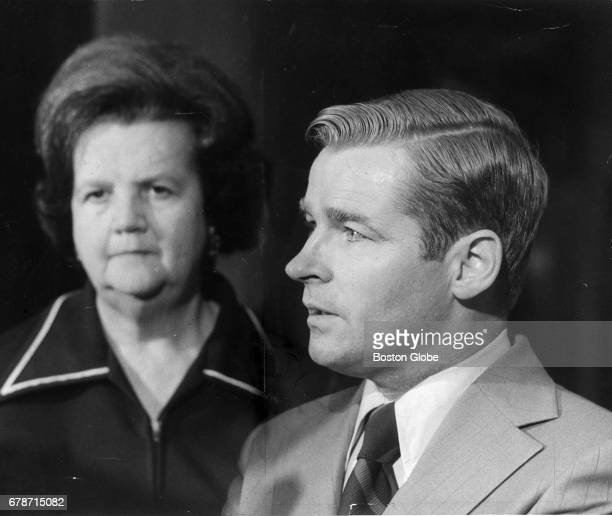 From left Ms Louise Day Hicks looks on as Massachusetts Senator William Bulger speaks at City Hall in Boston on Sept 17 1974