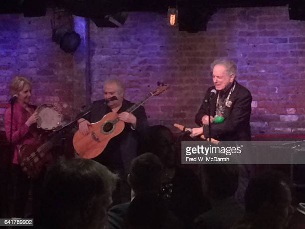 From left musicians Alicia Sunshine Avram Pengas and David Amram perform onstage during a benefit for the Sophie Gerson Healthy Youth Foundation at...