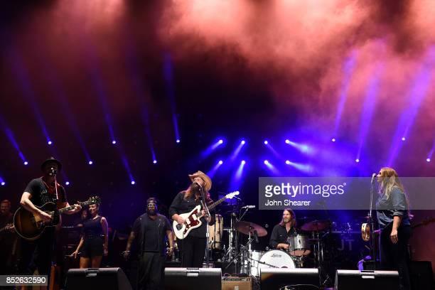 From left musicians Justin Timberlake Chris Stapleton and Morgane Stapleton perform at the 2017 Pilgrimage Music Cultural Festival on September 23...