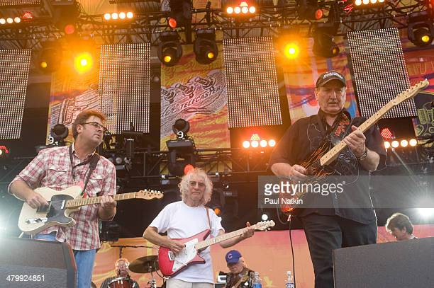 From left musicians Vince Gill Albert Lee and James Burton perform onstage at Eric Clapton's Crossroads Guitar Festival held at Toyota Park...