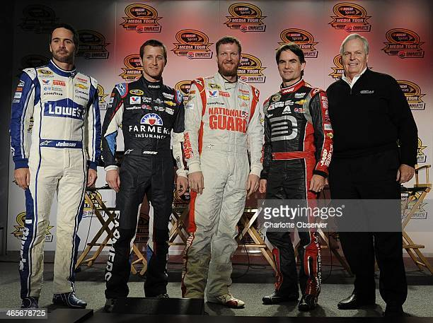 From left, NASCAR Sprint Cup Series drivers Jimmie Johnson, Kasey Kahne, Dale Earnhardt Jr., Jeff Gordon and team owner Rick Hendrick following a...