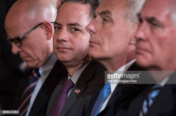 From left National Security Adviser HR McMaster President Donald Trump's Chief of Staff Reince Priebus Homeland Security Secretary John Kelly...